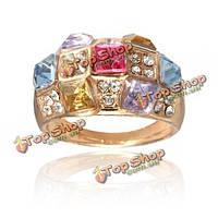 Роскошный красочный горный хрусталь ослепительная палец кольцо для женщин