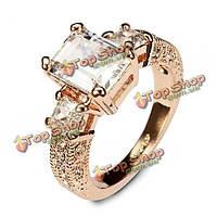 """Итальянском австрийских кристаллов циркона кольцо \прямоугольник\"""" свадебные украшения"""""""