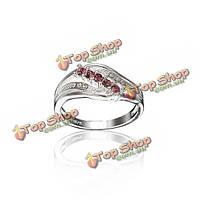 Посеребренные горный хрусталь декор циркон палец кольцо для женщин