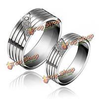 1шт титана стали кубического циркония инкрустированные пара палец кольцо для женщин мужчин