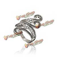Старинные полые горный хрусталь сплава палец кольцо для женщин
