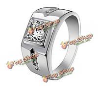 925 серебро циркон квадратный свадебный палец кольцо ювелирные изделия для мужчин