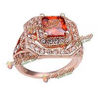 Хрустальная роза позолоченные циркон Рубин обручальное кольцо для женщин