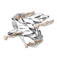 Элегантный 925 посеребренные оставляет филиал палец кольцо ювелирные изделия женщин