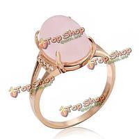 Итальянском позолоченный розовый опал горный хрусталь палец кольцо для женщин