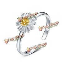 Серебро 925 маленький цветок ромашка открытие кольцо для женщин