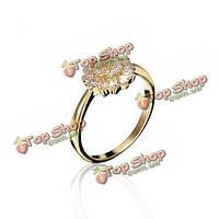 Kuniu холодный цветок циркон горный хрусталь сплава палец кольцо для женщин