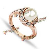 Элегантном итальянском 18k розовое золото позолоченный имитация Pearl кристалл палец кольцо