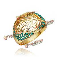 18k позолоченный полый лист кристалл горный хрусталь кольцо перста для женщин