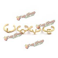 4шт панк письмо любовь сплав шарнирные кольца для женщин