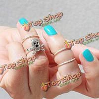 4шт золото серебро череп укладки кулака средний палец кольца комплект