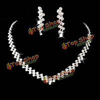 Свадебный площади кристалла толстые цепи ожерелье серьги комплект ювелирных изделий белый