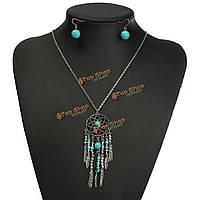 Старинные богемный кисточкой серьги из бисера кулон ожерелье комплект ювелирных изделий