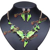 Позолоченные капля масла бабочка кристалл ожерелье серьги комплект ювелирных изделий