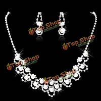 Свадебный кристалл жемчужное ожерелье серьги комплект ювелирных изделий посеребренная