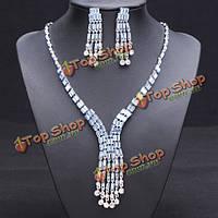 Кристалл кисточкой ожерелье серьги свадебный комплект ювелирных изделий для женщин