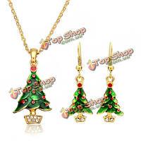 Новогодняя елка Дед Мороз эмаль ювелирные изделия набор колье серьги