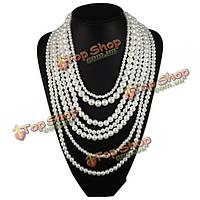Элегантные многослойные имитация жемчуга колье заявление ожерелье ювелирные изделия женщин