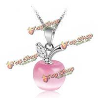 Сладкий розовый со стразами яблоко опал кулон ожерелье серебряной цепочке