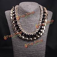 Горный хрусталь сплетенная веревка толстая цепь воротник колье заявление ожерелье