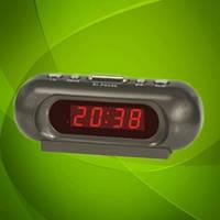 Настольные часы 716-1 LED-дисплей, будильник, мягкое красное свечение.