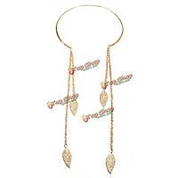 Винтажные ретро-панк-рок листья длинной кисточкой колье воротник ожерелье