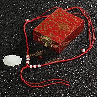 Ручной резьбой белого нефрита лотоса цветок кулон ожерелье женщины ювелирные изделия