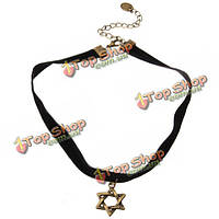 Ретро черный бархат небольшой кулон ожерелье ленты кружева