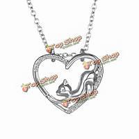 Женщины сердце кристалл серебряное ожерелье подарок ювелирных изделий милые кошки цепь