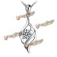 Серебряный позолоченный rhinestone кристалл ожерелье кулон крылья ангела