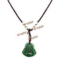 Зеленый нефрит камень Будды кулон ожерелье