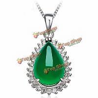 925 серебро водослива халцедон циркон ожерелье кулон