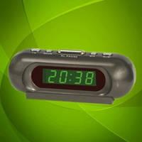 Настольные часы 716-2 LED-дисплей, будильник, мягкое зелёное свечение.