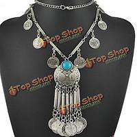 Старинные монеты кисточкой длинной цепочке кулон ожерелье для женщин