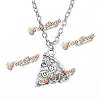 1шт серебро пиццы кулон ожерелье лучший друг