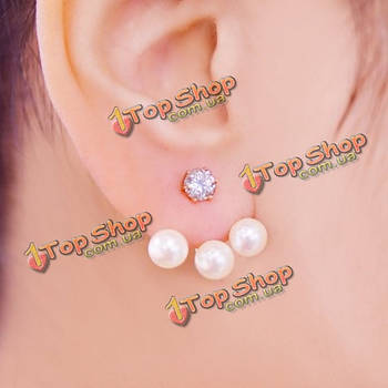 Кубический кристалл горный хрусталь жемчужина уха серьги стержня женщины ювелирные изделия
