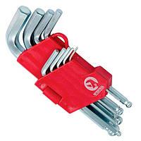 Набор Г-образных шестигранных ключей с шарообр. наконечн, 9 ед.,1.5-10 мм,Cr-V, 55 HRC Small INTERTOOL HT-0605