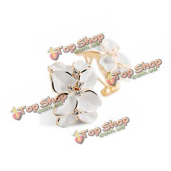 Прекрасная белая гардения цветок горный хрусталь позолоченные серьги стержня