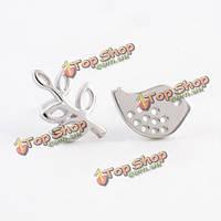 Асимметричная стерлингового серебра птиц лист шпилька серьги ювелирные изделия женщин