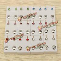 12 пар стразы круглые стальные серьги уха шпильки для женщин мужчин
