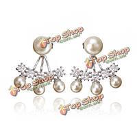 Элегантные круглые жемчужина кубический кристалл циркона серьги стержня для женщин