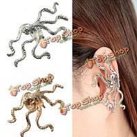 1шт золото-серебряного сплава осьминог животное тумака уха клип серьги ювелирные изделия
