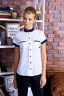 Удобная Классическая Белая с Синим Блуза Короткий Рукав Воротник Стойка XS-XL