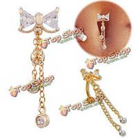 Кристалл bowknot лук пупка живота кольцо пирсинг ювелирные изделия