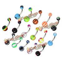 Штанги для пирсинга пупка изогнутые с шариками 50шт