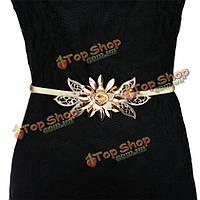 Золотой цветок украшения металла эластичный пояс ремень пояса для женщин