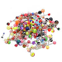 110шт смешанный цвет губ языком пупок живот кольца пирсинг бар украшения тела