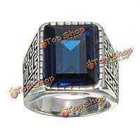 1шт серебро из нержавеющей стали синий квадрат драгоценный камень кольца для мужчин
