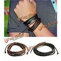 Мужская мода многослойные плетеные кожаные оплетки веревки браслет