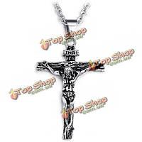 Мужчины 316L Иисус креста нержавеющей стали кулон ожерелье металлические цепи